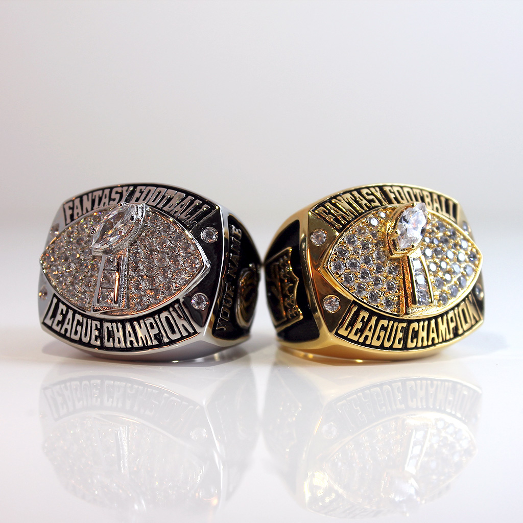 Fantasy Football Championship Ring trophy with personalized name on the side. Available in gold or silver plated.